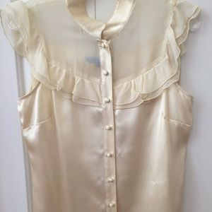 Antonio Melani pale yellow/gold silk blouse